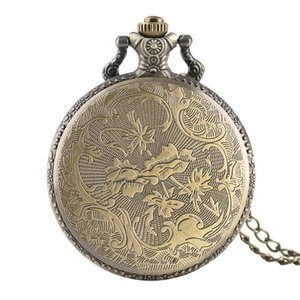 Fashion Vintage Quartz U.S Marine Corps Pocket Watches for Boys, Flower Carving Pendant Watch Link Chain for Teens