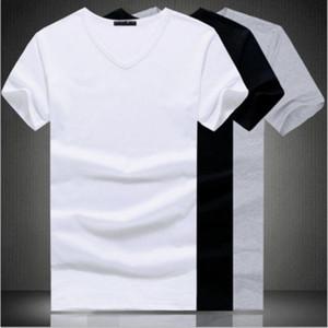 de algodón con cuello en V de cuello redondo de la camiseta del verano BlackWhite camiseta de los hombres de Slim Fit de manga corta ocasional sólida de color más el tamaño M-2XL