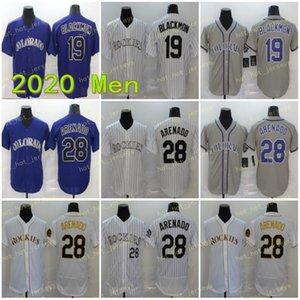Mens 2020 Neue 28 Arenado Jerseys 19 Blackmon 27 Geschichte Baseball-Shirts Lila Weiß Grau Flexbasis Mann Hemd Genähtes Coolbase