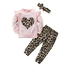 INS Love leopard baby girls suits cute kids outfits long sleeve T shirt+trousers+headband 3pcs set kids designer clothes girls outfits B1066
