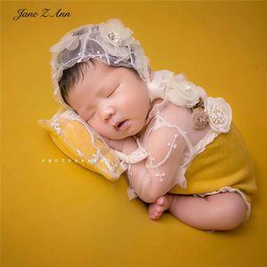 Jane Z Ann Fotografia recém-nascido roupa amarela Lace 3pcs florais chapéu Set + bodysuit + travesseiro Baby Photography outfits