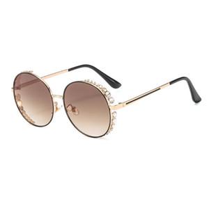 Hot Glasses 2020 Trend Classic Europe Retro Metal Colored Lenses Diamond Temperament Street Beat Sunglasses