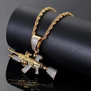 хип-хоп снайперская винтовка с бриллиантами кулон ожерелья для мужчин настоящее позолоченные медные цирконы AK47 пистолет роскошное ожерелье кубинские ювелирные изделия цепи