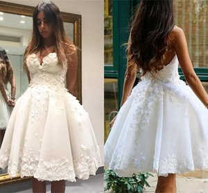 Super Mini Short dress 2019 Appliques Wedding dress White Ivory Ball Gown Summer girl Party dress Wedding Party