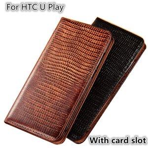 QX08 Patrón de lagarto Caja del teléfono magnético de cuero genuino para HTC U Play Flip Case para HTC U Play Ranura para tarjeta del bolso del teléfono