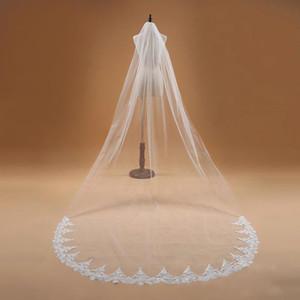 Voile Mariage 3M Tek Katman Dantel Kenar Beyaz Fildişi Katedrali Düğün Veil Uzun Gelin Veil Ucuz Düğün Aksesuarları Veu de Noiva CPA910