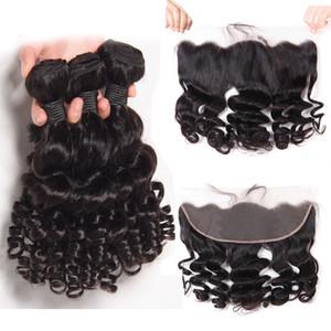 Funmi brésilien bouclé homme Bundles cheveux avec 13 * 4 Dentelle Frontal Natural Black Hair Extensions court Spirale Bouncy Curls Weave cheveux Trame