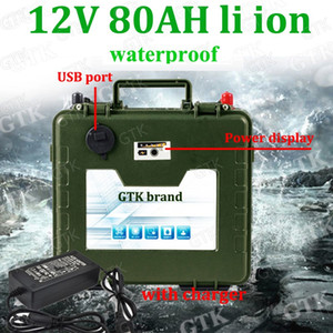 12v 80ah lithium ion battery 12v no lifepo4 battery USB port for panneau solaire Electric tricycle LED lamps inverter + charger