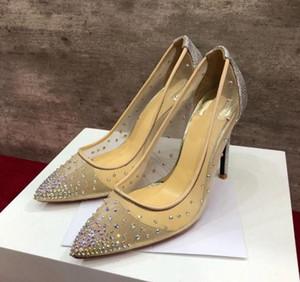 Высокое качество Новая мода Сексуальные женские насосы Peep Toe Crystal Пряжка Ремешок Партия Свадебные Обувь Золотая Воздушная сетка Прозрачный ремешок лодыжки