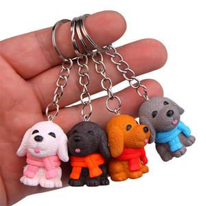 4 styles de chiot porte-clés créatif Cartoon voiture sac porte-clefs goutte trousseau chien animal mignon pendentif couple navire