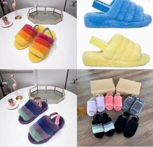 ÜST Kadınlar Pantoufle Kürklü Terlik pantoufles de Tasarımcı Hausschuhe Moda Lüks Tasarımcı Kadınlar Kauçuk Sandalet Kürk Terlik Terlik Ayakkabı