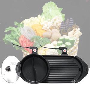 2 220 V in 1 Elektro Hot Pot Ofen Multi Cooker Grill Pan Smokeless Barbecue Grill Non-Stick Shabu Pot Hotpot Backblech