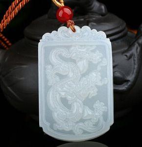 Ciondolo drago di giada bianco afgano naturale Xinjiang Baiyu Feilong in ciondolo Tianyu Ciondolo drago di giada