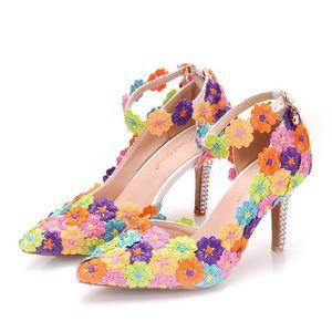 Chaussures de mariage en dentelle colorée bout pointu talon haut femmes sandales avec bride à la cheville pour la soirée banquet Performance demoiselle d'honneur