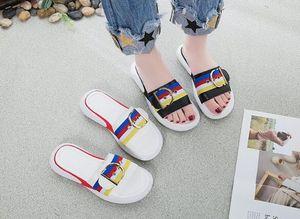 2019 verão nova moda listrado em forma de palavra muffin plataforma meninas chinelos, chinelos casuais das mulheres, de três cores chinelos listrados