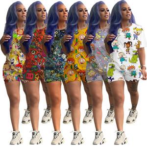 Moda de dibujos animados impreso conjunto casual para mujer diseñador chándal trajes de manga corta 2 piezas conjunto camisa camisa corta pantalón trajes deportivos Clubwear
