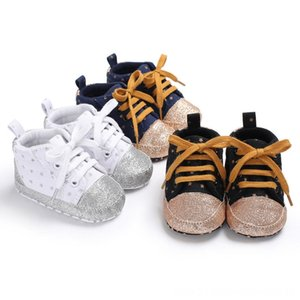 2019 Emmababy Newborn Baby Soft Shoes Dot Lace-up Stitching Casual Soft Sole Crib Shoes Warm Boots Anti-slip Sneakers 0-18M