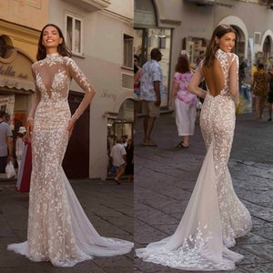 New Berta Mermaid Wedding Dresses High Collar Long Sleeve Bridal Gowns Sexy See Through Plus Size Sweep Train Wedding Dress