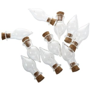 Mini Glass Bottles Jars with Cork Wish Note Craft Bottle Pack of 10 Drop Shape Transparent