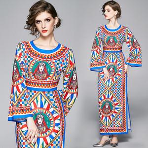 Luxury Vintage дизайнер платья втулки женщины сексуальной Тонкие шеи экипажа Пром дама Runway платье Elegant печать Офисные платья