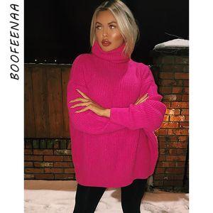 BOOFEENAA الأزياء المدورة المتضخم سترة الشتاء ملابس النساء النيون الأخضر الوردي البرتقال البلوز السيدات حك القمم C54-AF91 LY191217