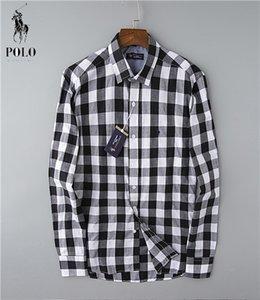 Calidad superior del diseñador de moda RL RACING POLO de marca camisas ocasionales # 001 de Estados Unidos fuera de lujo para hombre de la tela escocesa blanco clásico de manga larga vestido de la solapa Tees
