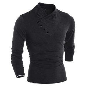 magliette uomini di modo nuovo Slim Fitness casuali Bottoni irregolare manica lunga collo Muscle Tee colore solido T-shirt uomo cime vestiti