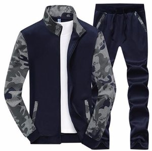 2019 Nuevo conjunto de chándal Spring Fleece Forrado Trajes de chándal Ropa deportiva Chaquetas + Pantalones Traje deportivo para hombre Sudadera