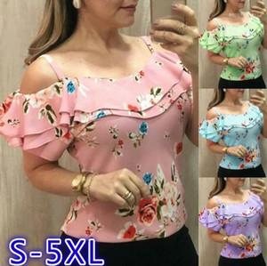 الأكمام بلايز المرأة الأزهار الصيف قمصان الموضة الجوف خارج زهرة مطبوعة تيز قصيرة