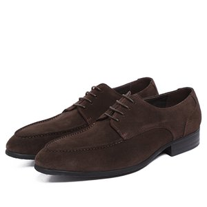 Business Casual Leather Shoes Men Shoes Pointed Toe Formal Wear File Oxfords