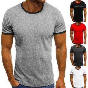 Designer Solid Designer Neck Casual Neck Mens Crew Mens Paneling Breve Colorato Estate Tshirts Comodo Top Manica Sleeve LRKNV
