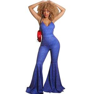 Halter sexy tuta della banda di colore solido sottile abbigliamento a zampa tuta discoteca nuova moda delle donne di vendita calda