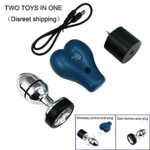 Беспроводной вибрационный Electric Shock Metal Anal Plug с Сменная Gem Bottom Секс игрушки для взрослых продукт