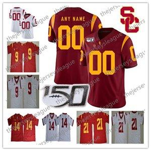 USC Trojans 2019 Custom Любое имя Номер сшитый 150-й патч Новый красный белый # 9 JuJu Смит-Шустер 19 Matt Fink Seau Футбол Джерси NCAA
