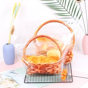 Clear Braed Bag Zipper Fresh Storage Box Biscuit Cake Cholesale Snack Basket Gift Food Bag yq00839