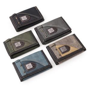 Oxford Cloth Canvas Männer Geldbörsen Trifold Studenten Freizeit Geldbörsen Spots Tasche Kurzschluss-beiläufige Mappe 12 * 8 * 2cm 7 Arten X509