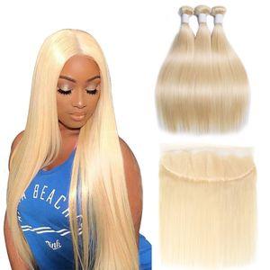 Modernshow 613 Bundles avec Frontal blonde cheveux raides Brésilien Cheveux Weave humains Bundles cheveux avec Frontal Remy Livraison gratuite