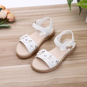 Girls Sandals Children Shoes 2019 New Summer Shoes Pearls Kids Sandals For Girls PU Leather Flowers Princess Shoes Girls Sandal T200530