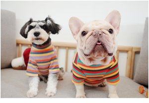 كلب مدلل مخططخ الخريف والملابس الشتوية تم خياطة قميص مخطط بطريقة دو شناوزر ملابس XD23336