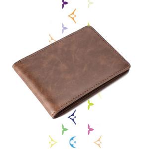 esigner d bolsas delgadas para hombre Frente bolsillo de la carpeta del caso tarjeta de la ventana de identificación con el bloqueo de RFID