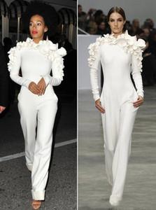 2019 Sexy blanc jambe combinaison manches longues col haut avec des fleurs formelles robes de soirée du parti personnalisés Made New Arrivée Celebrity Dresses