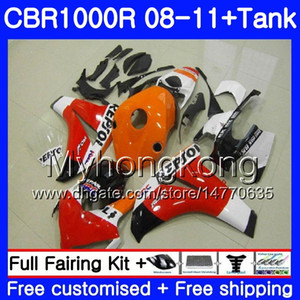 HONDA CBR 1000RR CBR 1000 RR İçin Bodys + Tank Repsol kırmızı turuncu 2008 2009 2010 2011 277HM39 CBR1000 RR 08 10 11 CBR1000RR 08 09 10 11 Kaporta