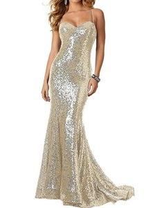 Evening dress European and American banquet sexy suspender Sequin backless fishtail long Prom Dress
