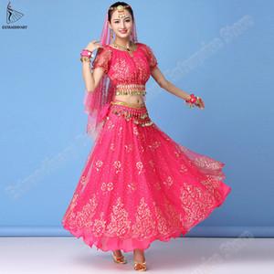 Costume Set Bollywood Sari Donne Belly Dance Clothes prestazioni superiore chiffon + Belt + Skirt Outfit