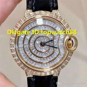 2019 Cassa in acciaio Ballon Bleu DE donna Diamond Watch Ladies Watch svizzero al quarzo cristallo di zaffiro 18K cinturino in pelle di alligatore nero