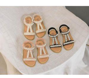 2019 Yaz Yeni Kız Sandalet Ayakkabı Inci Prenses Kız ayakkabı Moda Çocuklar Hollow Sandalet Plaj Sandalet Gladyatör Çocuklar tasarım Ayakkabı
