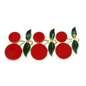 DIY Takı Aksesuarı Yapımı 15pcs / lot 18 * 25 mm Alaşım Kırmızı Emaye Kiraz Meyve Charms kolye kolye Küpe Bulgular
