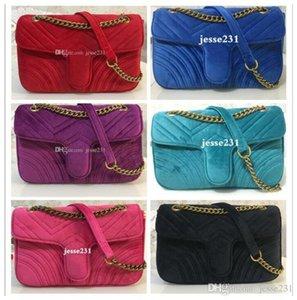 Hot Sale Fashion Women Shoulder Bags Classic Gold Chain 26cm Velvet Bag Heart Style Women Bag Handbag Tote Bags Messenger Handbags