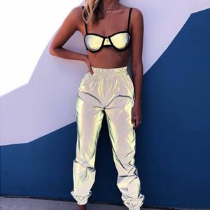 Las mujeres Harem luminoso reflectante Pantalón largo Mujer salvaje del otoño atractivo elástico de la cintura los pantalones delgados ocasionales de la calle del punk Bottoms