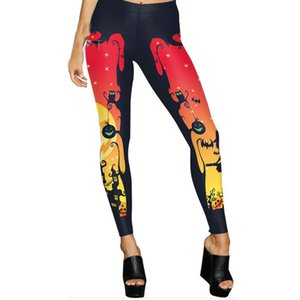 Halloween Pumpkin Skulls impresso Legging Halloween Red Seamless cintura alta Yoga Leggings Tights Elastic calças de Mulheres